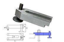 heigth-adjustable cast aluminum yokeclamp M8x60x25x12