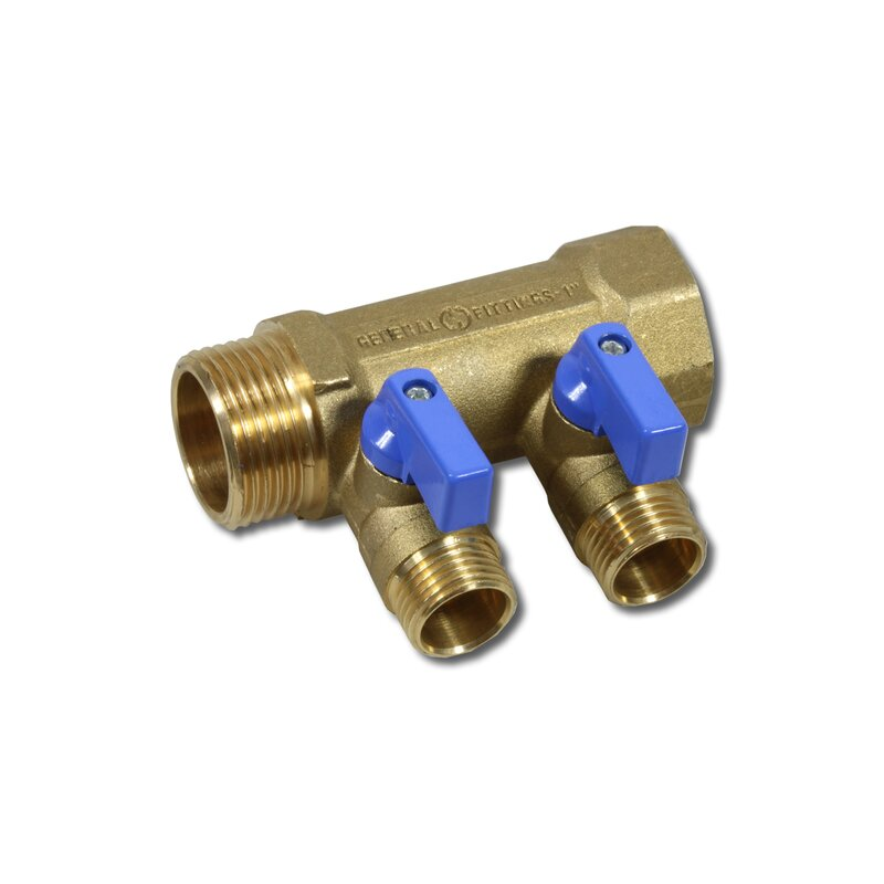 "1"" manifold with 2x 1/2"" ball valve"