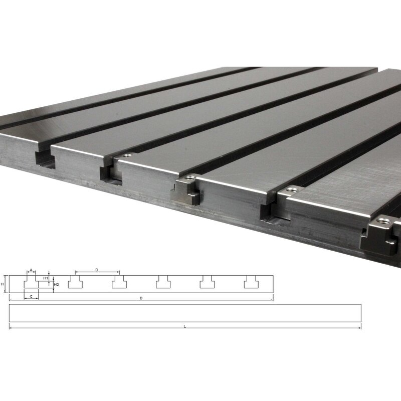 Steel T-slot plate 10050 (finely milled)