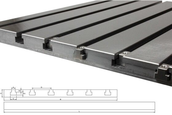 Steel T-slot plate 3020 (finely miled)
